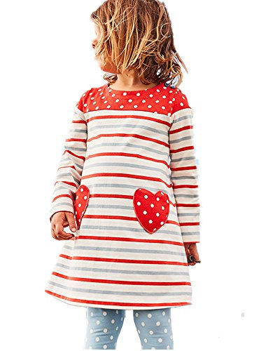 (Cute Little Baby Girl Red Love Applique Stripe White Dot Spring Fall Dress)