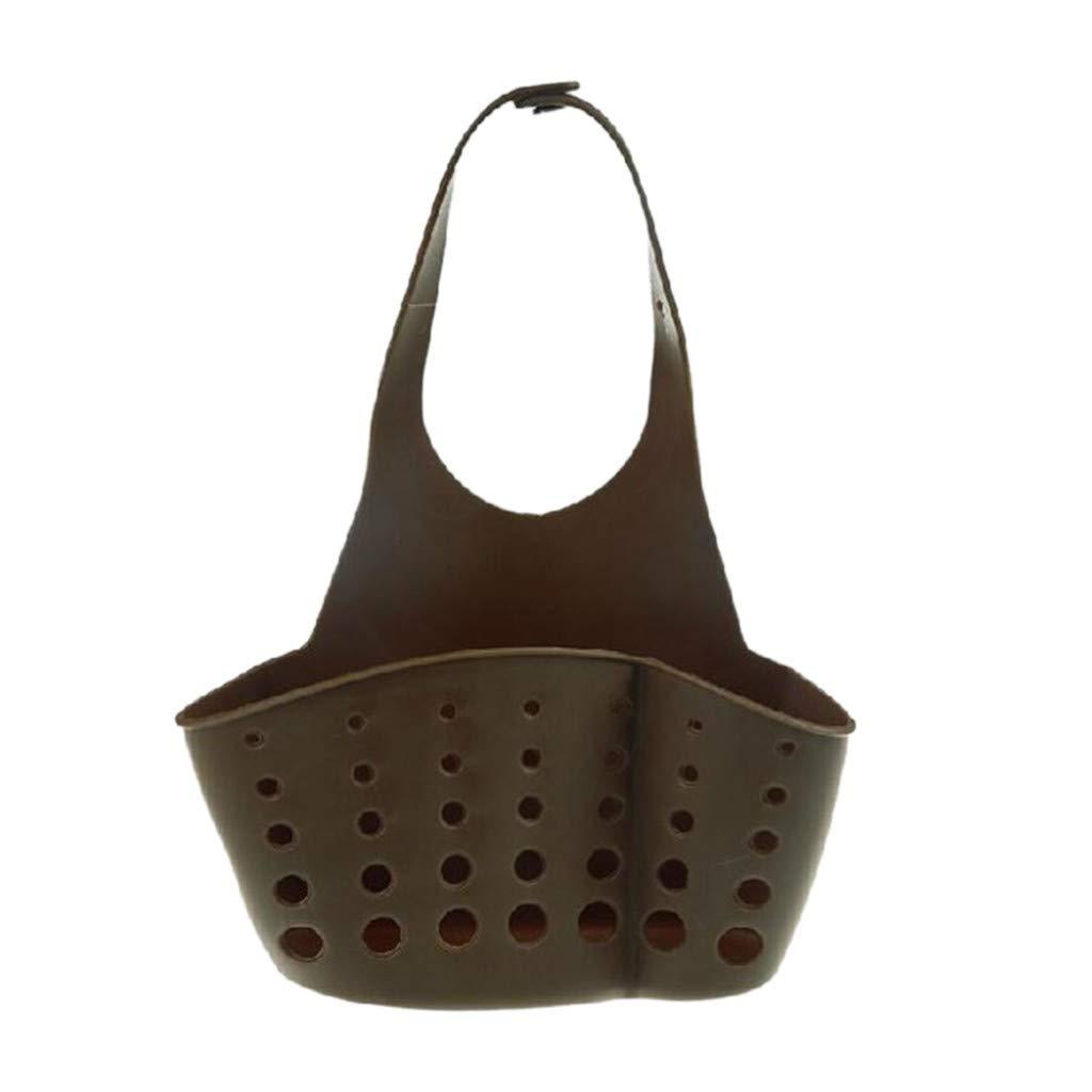 Onegirl Kitchen Dishwashing Sponge Storage Rack Multifunctional Storage Hanging Basket Sink Drain Bag (Coffee)