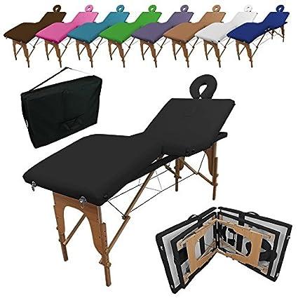 Linxor ® Mesa de masaje plegable 4 zonas de madera con panel de Reiki + accesorios