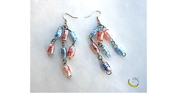 pendientes de perlas de plastico reciclado hechas a mano: Amazon.es: Handmade
