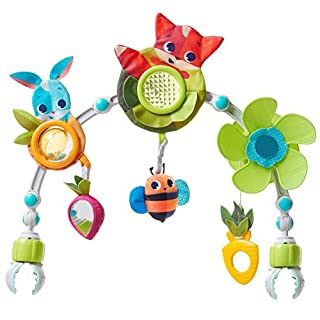The Tiny Love Meadow Days Sunny Stroll Stroller Arch entertains and stimulates your baby during your baby's daily walk. This stroller toy's clever design provides eight engaging activities to entertain and promote your baby's development, while the a...