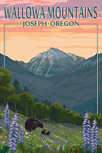 Joseph, Oregon - Wallowa Mountains - Bear and Spring Flowers Collectible Art Print, Wall