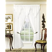 Today's Curtain Versailles Macrame Crushed Voile Ascot Window Curtain, White
