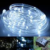lychee [2Pack] Outdoor Solar String lights 16.5ft 50LED Waterproof Solar Power String 1.2 V, Daylight White, with Light Sensor, Outdoor Rope Lights, Ideal for Christmas, Party, Wedding (White)
