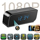 Spy Camera Clock WiFi Hidden Camera,HD 1080P Wireless IP Camera Video Recorder Nanny Cam for Indoor Home Office Security Motion Detection Night Vision Looping Recording Support iOS & Android (Black)