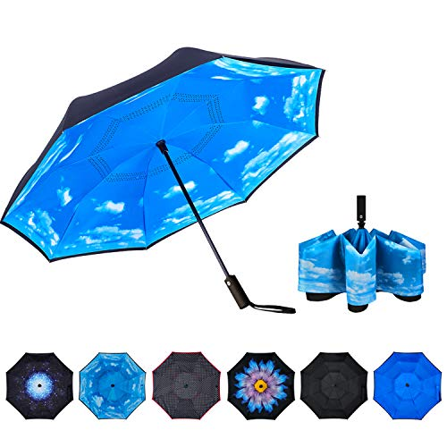NOORNY Inverted Umbrella Double Layer Automatic Folding Reserve Umbrella Windproof UV Protection for Rain Car Travel Outdoor Men Women Blue Sky