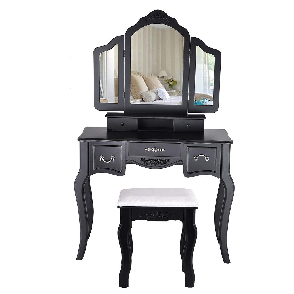 Sonmer Vanity Set with Mirror, Cushioned Stool, Storage Shelves, Drawers Dividers ,3 Style Optional, Shipped from US - Two Day Shipping (#3, Black) by Sonmer (Image #8)