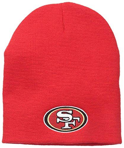 - San Francisco 49ers Red Skull Cap - NFL Cuffless Beanie Knit Hat