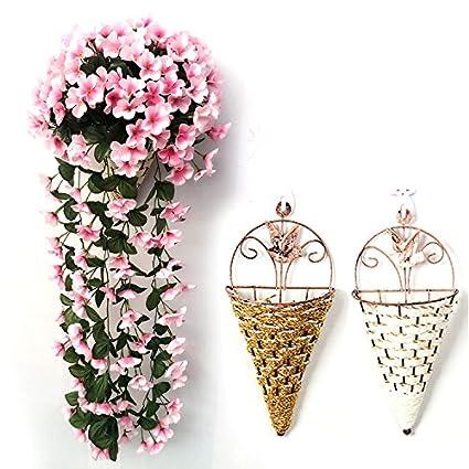 Takefuns Guirnalda de Pared de Flores de Violeta Artificial, Ideal para Colgar en la Pared
