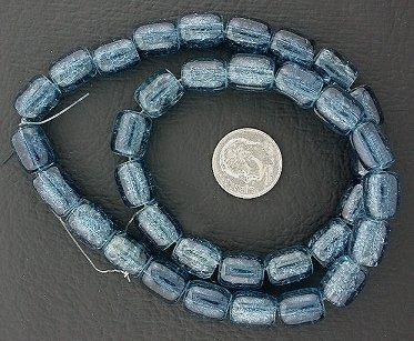 11x9 Dark Blue Sapphire Tube Crackle Glass Beads