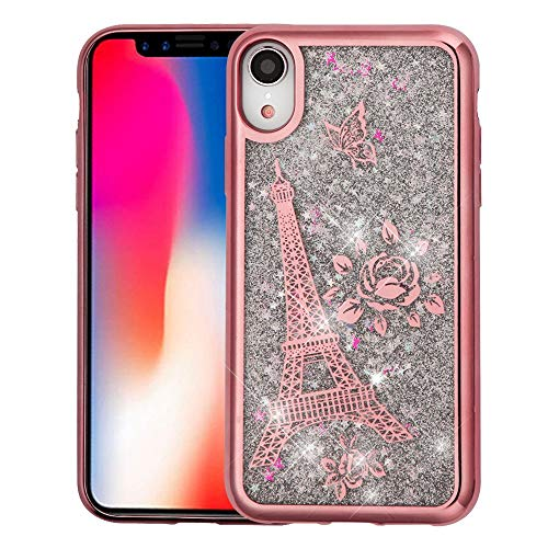 JoJoGold Case for Apple iPhone XR (6.1 Inch), Glitter Liquid Aquarium Design Cover, Slim Fit Transparent TPU Cover, Comes with Tempered Glass Screen Protector - Rose Gold Eiffel Tower ()