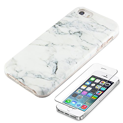 Price comparison product image White Marble iPhone SE 5S 5 Protective Case Ucolor Dual-layer Hard PC + Soft TPU Tough Case for iPhone SE 5S 5 with Slim Tempered Glass Screen Protector