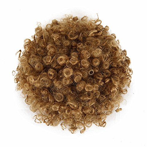 (Deyngs Ponytail African American Short Afro Kinky Curly Wrap Synthetic Drawstring Puff Ponytail (1B/27))