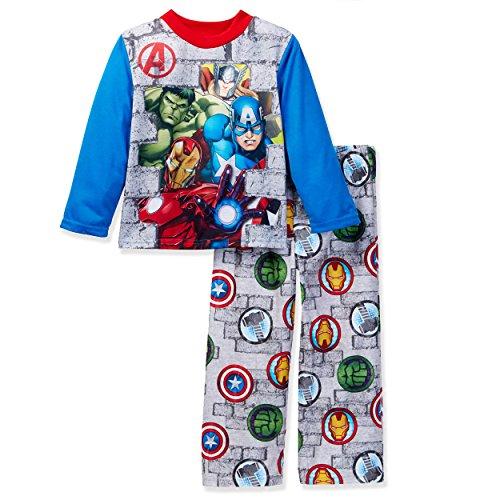 Marvel Avengers Boys Pajamas (6, Avengers Grey/Blue) (Pajamas Superhero)