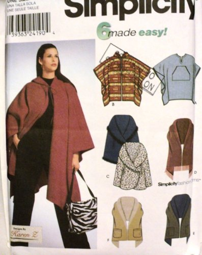 Amazon.com: Simplicity Pattern 9335 - Misses Poncho and Wraps - One ...
