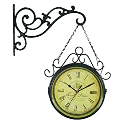 FortuneVin Wall Clock Silent movement Wall Clock Home Office Decor for Living Room Bedroom and Kitchen Clock Wall Retro Double-Sided Idyllic Quiet Two-Sided Clocks Large, Navy Blue Black