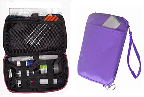 Diabetic Organizer Cooler Bag-for Insulin, Testing Supplies -Purple (1x Ice Pack)