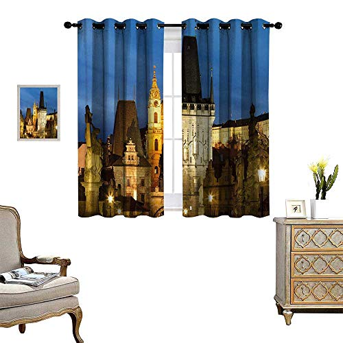 - Anyangeight European Thermal Insulating Blackout Curtain Charles Bridge Tower Dusk Czech Repuclic Prague Architecture Scenes from Europe Patterned Drape for Glass Door W63 x L72 Multicolor