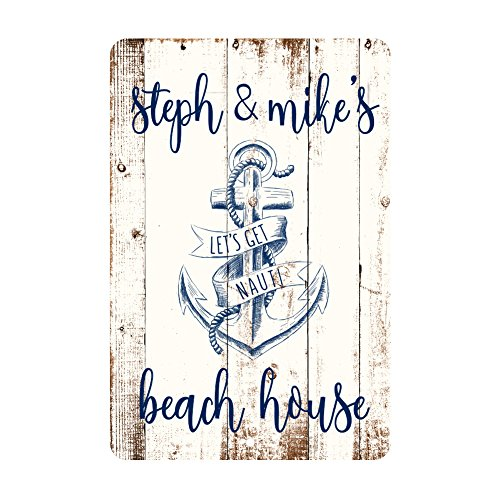 (Personalized Let's Get Nauti Beach House Rustic Nautical Look Metal Room)