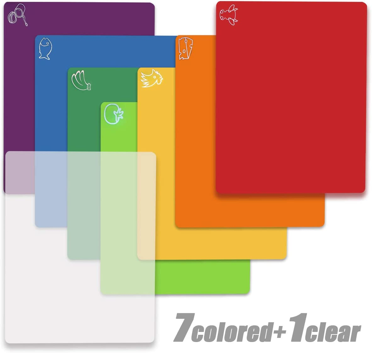 Cutting Board Mats Flexible Plastic Colored Mats With Food Icons, Fotouzy BPA-Free, Non-Porous, Anti-skid back and Dishwasher Safe, Set of 7+1