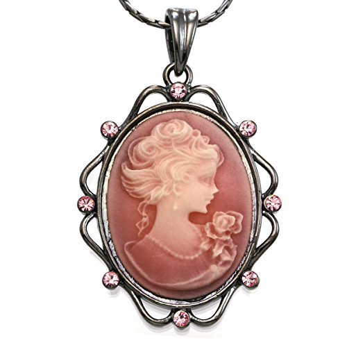 Soulbreezecollection Light Pink Cameo Pendant Necklace Charm Women Fashion Jewelry (Pendant Lady Necklace Cameo)