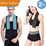 "Cooling Towel 2 Pack,WOZHIFU Instant Cool Towel For Men & Women (40""x12""),Chilling Neck Wrap,Ice Cold Scarf for Sports Basketball Golf Football Yoga Workout Gym Pilates Travel Camping Towels"