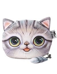 BeautyGal Women's Cartoon Cat Zipper Ladies Workmanship Change Purse(Gray)