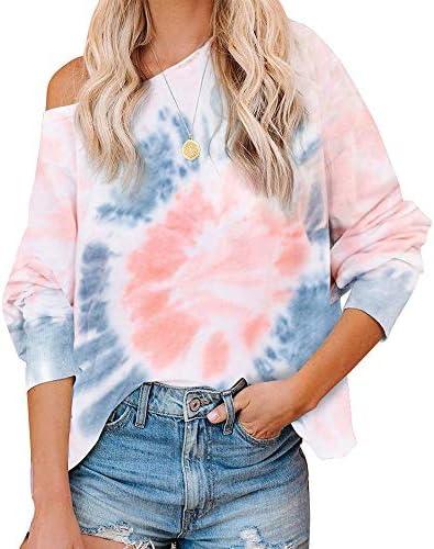 Zenicham Women`s Tie Dye Printed Long Sleeve Sweatshirt Round Neck Casual Loose Pullover Tops Shirts