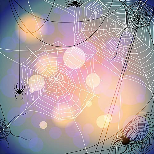 AOFOTO 10x10ft Spider Web Backdrop Spiders Bokeh Haloes Abstract Sky Photography Background Video Display Horror Scarey October Halloween Celebration Portrait Shooting Vinyl Photo Booth Prop -