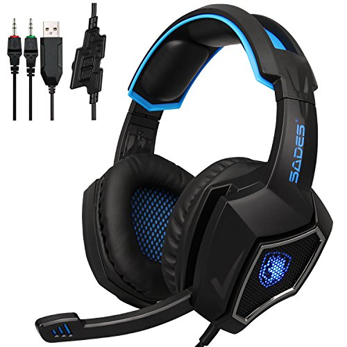 [2017 Newest Lightweight Headphones]SADES Spirit Wolf 3.5mm Wired Computer Gaming Headset with Microphone,Deep Bass Over-the-Ear Noise Isolating, Volume Control, LED Lights For PC Gamers (Black Blue)]()