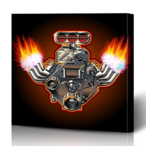 - Ahawoso Canvas Prints Wall Art 16x16 Inches Steel Car Turbo Engine Hot Aluminium Rod Flame Exhaust Race Design Acceleration Decor for Living Room Office Bedroom
