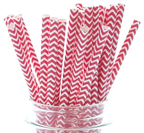 [Red Zig-Zag Chevron Drinking Straws - 25 - Holiday Straws, Valentines Day Party Straws, Red Chevron] (Halloween Cupcake Ideas Kids Decorate)