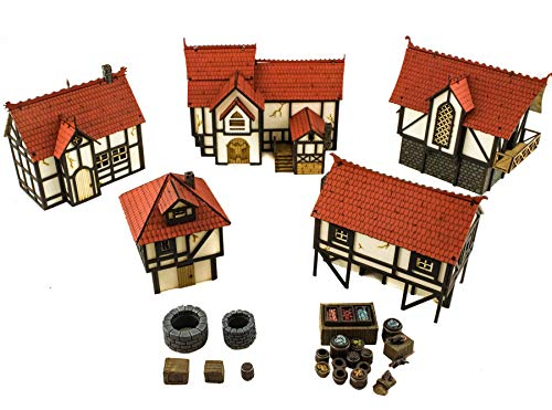 War World Gaming Medieval Town (Painted / unpainted) 5 Houses & Resin Scatter Terrain - 28mm Scale Fantasy Wargame Model Scenery