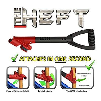 The HEFT PLUS Secondary Back Saver Handle for Snow Shovels and Garden Tools as seen on Dragon's Den (Canada Shark Tank)