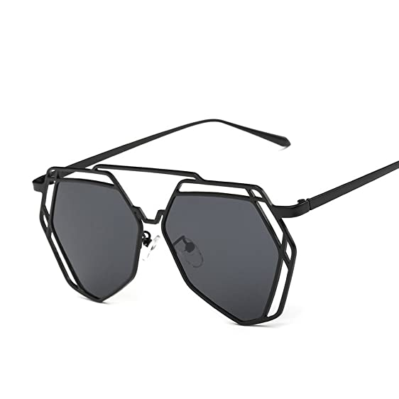 VeBrellen Fashion Vintage Women Polygon Frame Glasses Men Driving Sun Glasses  Polarized Sunglasses (Black Frame