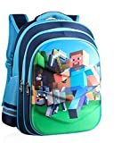 Minecraft Backpack, Cool 3D Waterproof Cartoon School bag 16.5 Inch Rucksack for Kids Age 7-12 Years Old (Blue 1)