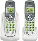 Vtech Dect 6.0 2-Handset Cordless Phone System with Caller ID, Green Backlit Keypad and Display (CS6114-2WT)