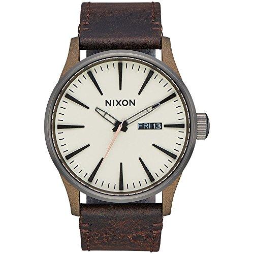 New Nixon Men's Sentry Leather Watch Metal