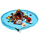 Whale Life Lego Storage Container Organization Portable Toy Organizer and Play Floor Mat, Big Lego Pouch Bag Sack for Baby and Older Kids (Light Sky Blue)