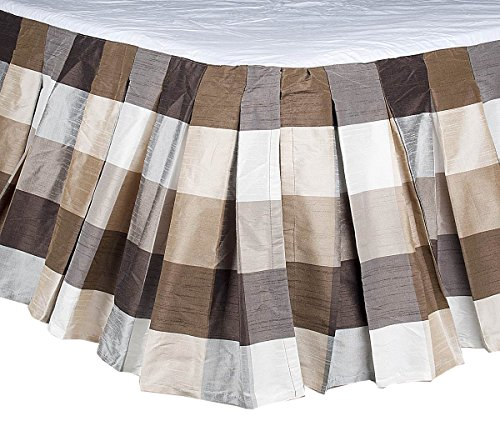 """TSC Buffalo checks inverted box pleated faux silk dupion bed skirt or dust ruffles with 18"""" Drop (78""""W X 80""""L X 18"""