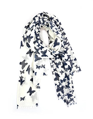Anika Dali Women's Fabulous Butterfly Scarf in Soft Wool (Navy Blue Print) (Made India Scarf In)