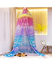 Mengersi Princess Bed Canopy Play Tent for Kids Girls, Cloud Sky Mosquito Net,Rainbow Indoor Outdoor Castle Hanging House Decoration Reading Nook