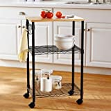 Multi-Purpose Cart - Black - Sturdy Metal with Sleek Finish - Added Open Shelf and Hooks for Storage - Wheels with Locking Casters - Wood Top - Easy Assembly - It Has an Elegant Look