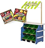 Bundle Includes 2 Items - Melissa & Doug Wooden Grocery Store and Lemonade Stand - Reversible Awning, 9 Bins, Chalkboards and Melissa & Doug Play-Time Produce Fruit (9 pcs) and Vegetables (7 pcs)