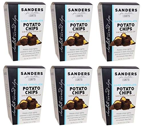 Chocolate Covered Potato Chips by Sanders Fine Chocolates - SWEET AND SALTY PERFECTION will perk you up for the rest of the day! 6 Oz. Box (Pack of 6) (Dark Chocolate)