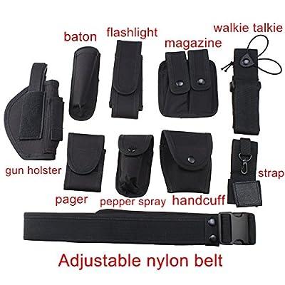 Agptek Versatile Police Security Tactical Modular Equipment System Molded Duty Belt Set for Law Enforcement, Colt 1911 Holster, Gun Holster, Flashlight Holster, Baton Holster