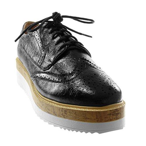 Chaussure Compensé 4 Femme Derbies Angkorly Perforée Plateforme Talon cm Mode Noir Bois Brillant Plateforme 4PzwwdF