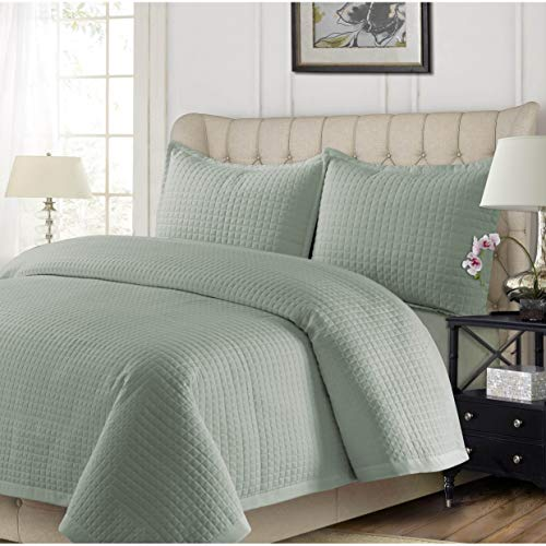 (MISC 110x96 Sage Green Hypoallergenic King Quilt Set Ultra-Soft Oversized Bedding Lightweight Wrinkle-Resistant Box Square Stitch Pattern Microfiber, 3 Piece)