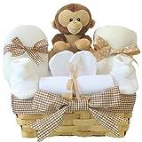 Cute Monkey Baby Shower Hamper Basket Unisex Set | Baby Gift Baskets Neutral Gender Hampers | Newborn Gifts Bundle for Boy Girls | Gift Baskets Baby Showers | New Baby Hampers Gift Baskets Girl Boys