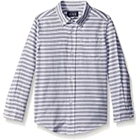 The Children's Place Little Boys and Toddler Baby Boys' Long Sleeve Sleeve Dobby Printed Woven, 5T